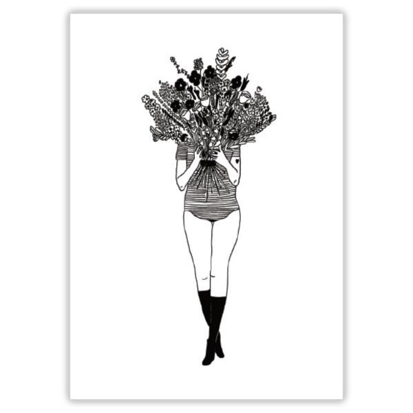 Postkarte flower girl