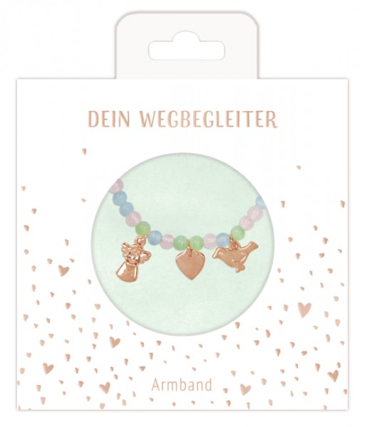 Armband mit Halbedelstein-Perlen u. drei Anhängern
