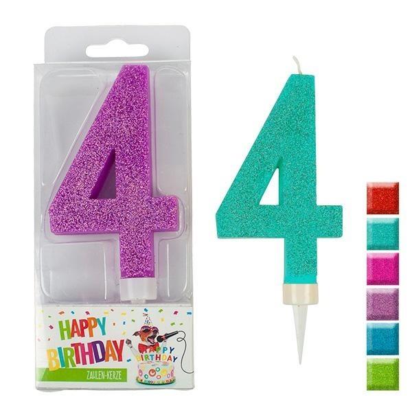 BIRTHDAY FUN Zahlenkerze 4 Glitter Maxi