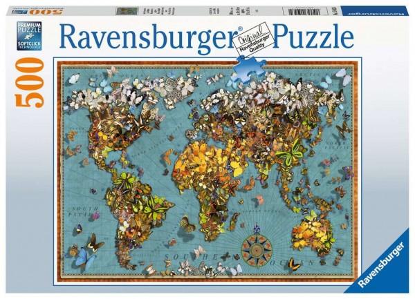 Puzzle Antike Schmetterling Weltkarte