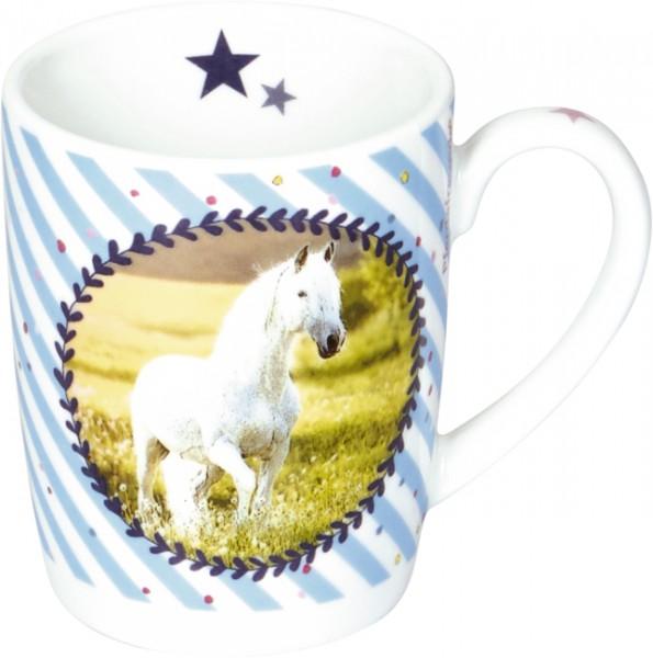 "Porzellan-Tasse ""Pferdemedaille"" Pferdefreunde"