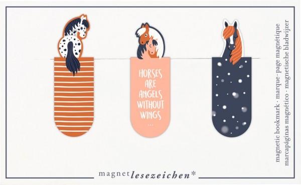 Magnetlesezeichen Horses