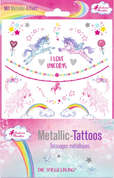 Metallic Tattoos Einhorn-Paradies (mit Silberfolie)