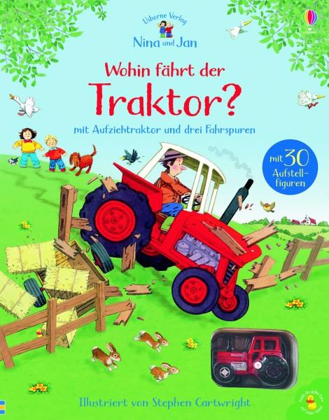 Nina und Jan - Wohin fährt der Traktor? mit Aufziehtraktor und drei Fahrspuren