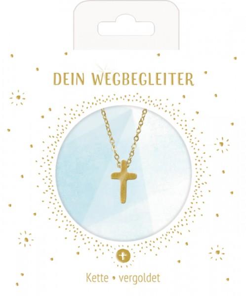 Halskette mit Kreuzanhänger (vergoldet)