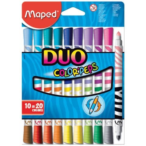 Faserschreiber 10ST Duo sort. MAPED Color Peps