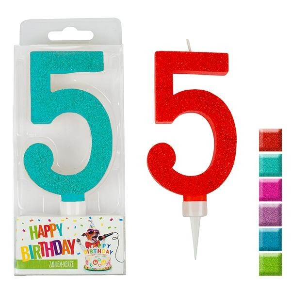 BIRTHDAY FUN Zahlenkerze 5 Glitter Maxi