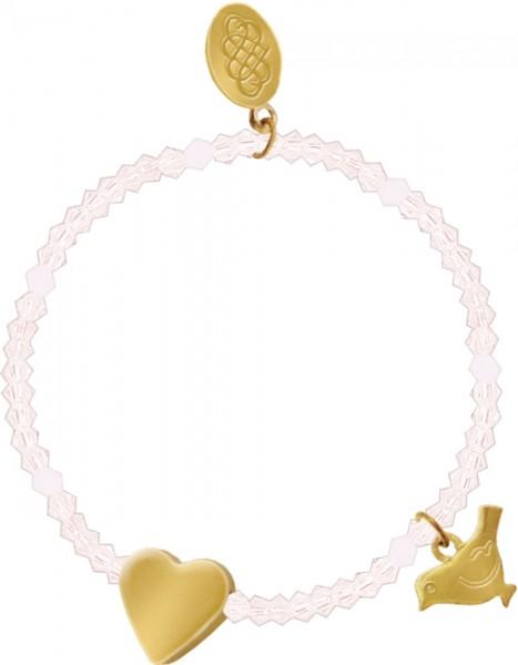 Glasperlen-Armband mit Herz und Segenstaube