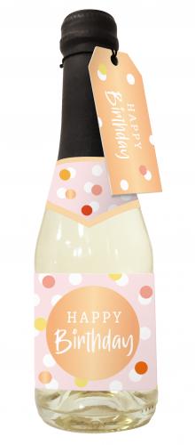 Beerenperlwein-Flasche 0,2l Happy Birthday - Konfetti