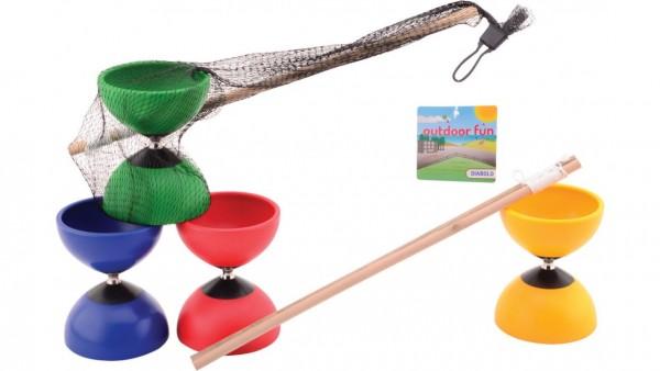 Diabolo mit Holzstäben einzeln (4 verschiedene Farben) Outdoor Fun
