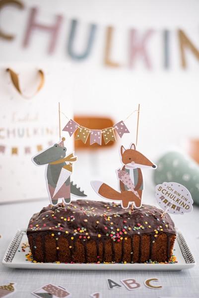 Cake Topper Schulkind, pastell