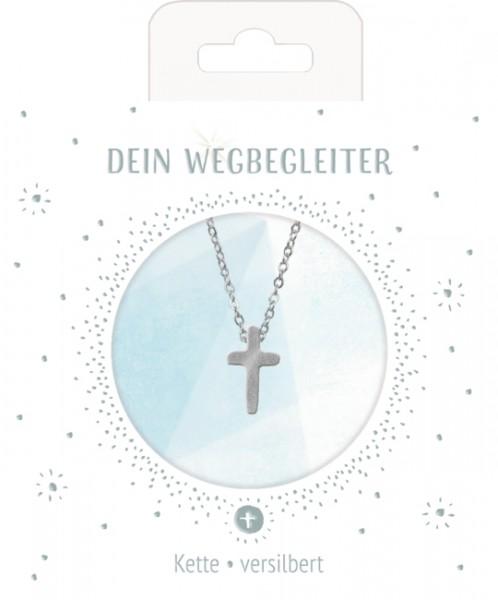 Halskette mit Kreuzanhänger (versilbert)