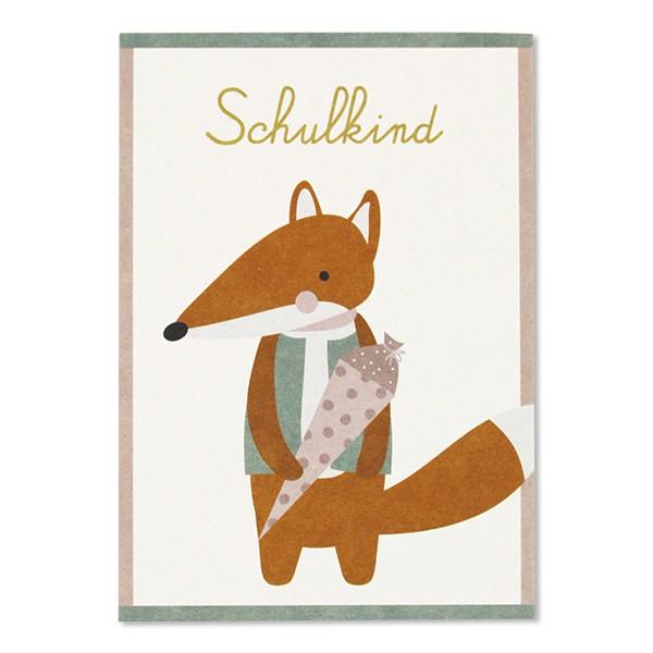 Postkarte Fuchs – Schulkind