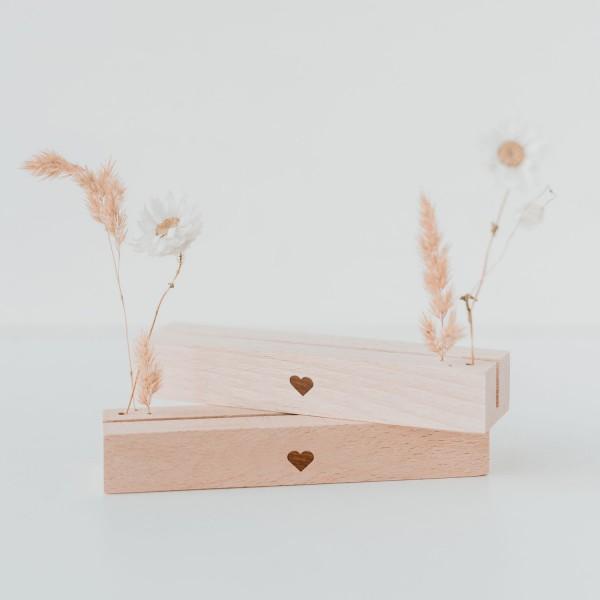 Karten- und Trockenblumenständer Herz im 2er Set