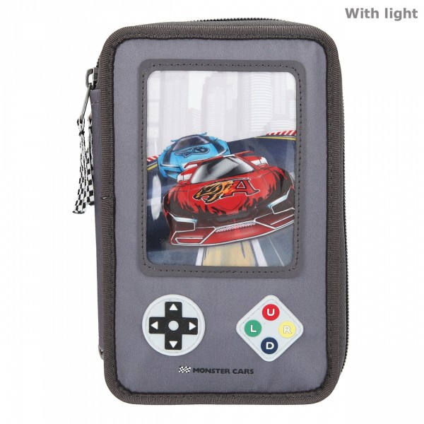 Monster Cars 3-Fach Federtasche LED Gamer