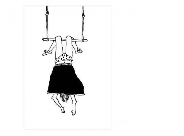 Postkarte Trapez Mädchen