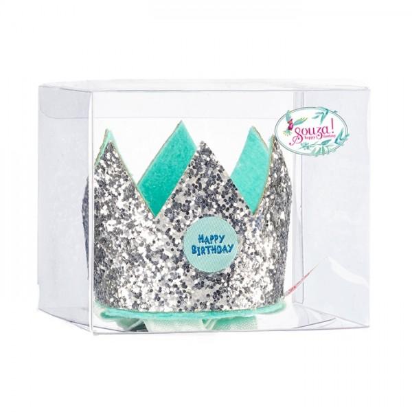 Geburtstagskronensilber auf elastischem Stirnband in Geschenkbox