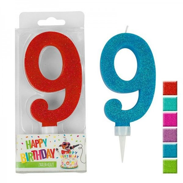 BIRTHDAY FUN Zahlenkerze 9 Glitter Maxi, 6-fach sortiert