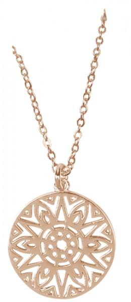 Halskette mit Sonnenanhänger (rosévergoldet)