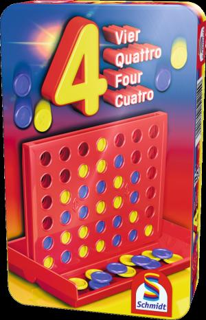 Vier, Bring-Mich-Mit-Spiel in Metalldose