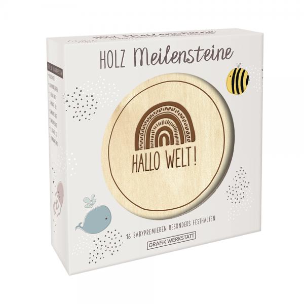 Meilenstein-Karten aus Holz (hellgrau)
