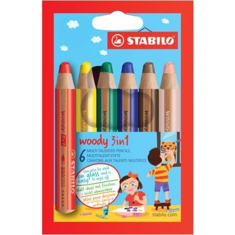 Farbstifte Woody 6ST STABILO mit Spitzer